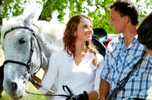 Couple with horses